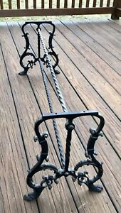 Vintage Antique Wrought Iron Bench Seat Coffee Table Frame Long Version