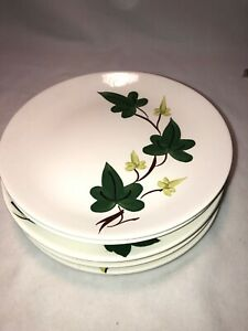 "Blue Ridge Southern Pottery Baltic Ivy 9.5"" Dinner Plates Set Of 6 MCM Eames Era"