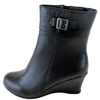 Steps By Hush Puppies Women's Black Leather Waterproof Wedge Heel Ankle Boots