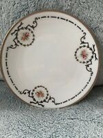 """Antique 1890's Lantier & Limoges Pink Rose And Silver Bread & Butter Plates-6.5"""""""