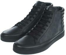 NEW GUCCI MEN'S BLACK GRAY GG SUPREME LEATHER HIGH TOP SNEAKERS SHOES 6G/US 7
