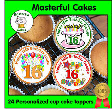 24 PERSONALISED 16th BIRTHDAY DESIGN 1 EDIBLE RICE PAPER CUP CAKE TOPPERS