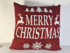 "Merry Christmas Throw Pillow Red Sparkly Sparkle Reindeer White 15"" square"
