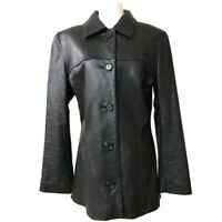 Beyond Sport California black leather jacket coat Women's M Button Up V-Neck EUC