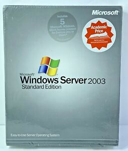 2003 Microsoft Windows Server Standard Edition 5 Client Users Academic Price New