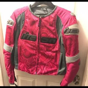 Pink and Gray Icon Women's Motorcycle SB1 Overlord Jacket