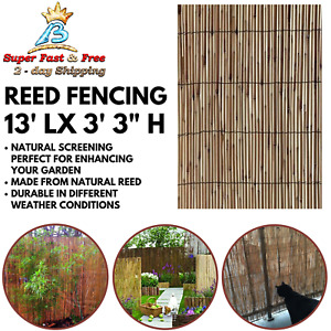 Outdoor Soft Shade Privacy Screen Backyard Bamboo Slat Reed Fence Garden Fencing