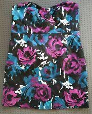 CITY CHIC Black & Floral Strapless Party Dress Size L