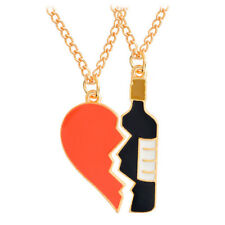 2PCS/Set Heart Wine Pendant Necklace Best Friend Couple Chain Jewelry Gifts FU
