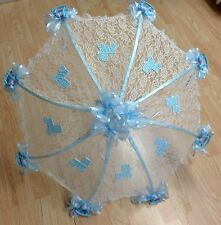 """32"""" White Lace baby shower umbrella Blue rocking horses, rattles and buggies"""