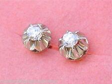 ANTIQUE .40ctw DIAMOND PLATINUM 18K GOLD STUD EARRINGS 1930