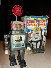 Vintage 50's Remote Battery Marx Japan Tin Space Robot Television Spaceman RARE