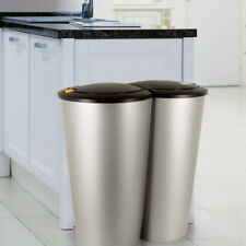 Kitchen Waste Bin Garbage Can 2 Compartment Double Rubbish Trash Recycling 50L S