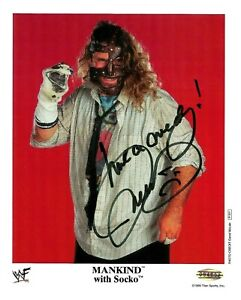 WWE MANKIND P-501 HAND SIGNED AUTOGRAPHED 8X10 PROMO PHOTO WITH STEINER COA