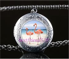 Flamingo Bird Cabochon Glass Tibet Silver Locket Pendant Necklace