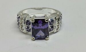 Beautiful Sz 6 Sterling Silver Ring 10mm Emerald Cut Purple Stone Clear Accents