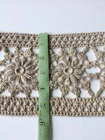Antique Wide Trim Crochet Lace Handmade Primitive Edging Sewing 2 Yards
