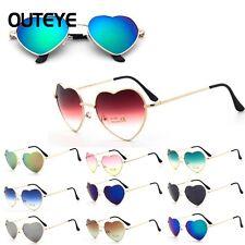 Womens Ladies UV400 Metal Frame Heart Shaped Sunglasses Gradient Shades Lens