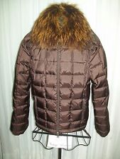 Apres-Ski Jacket Brown Removable Fox Collar in Ombre Color NEW Italy Goose Sz 10