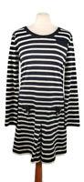 Hobbs NW3 Size 12 Dark Navy Blue White Stripe Button Back Dress Pockets Cotton