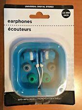 UNIVERSAL DIGITAL STEREO EARPHONES (Blue w Grey & Green tips)