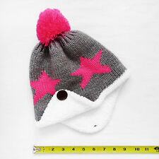 dbd627af1bc NWOT Girls Cotton Knit Ear Flap Trapper Pom Beanie Hat with Stars One Size
