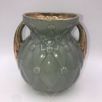 Vintage Shawnee Vase USA Pottery 2 Gold Handles #827 Quilted Daisy Pattern Gray
