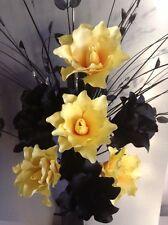 Artificial Silk Flower Arrangement Yellow & Black In tall Twist Black Vase