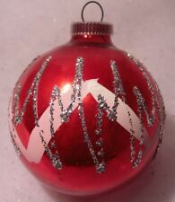 VINTAGE GLASS CHRISTMAS ORNAMENT DEEP PINKISH/RED W/ GLITTER ACCENTS W GERMANY