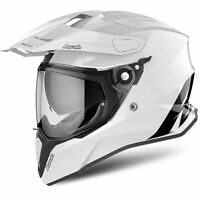 AIROH COMMANDER DS DUAL SPORT GLOSS WHITE MOTORCYCLE MOTORBIKE ADVENTURE HELMET