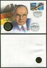 BRD Numisbrief Helmut Kohl 1 Mark Münze - J - 1990 - Stempel Bonn 02.12.1990
