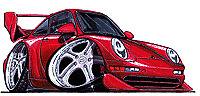 993 RSR RS Carrera C2 porsche Cartoon car t-shirt 3 different colors sizes S-3XL