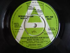 "Undisputed Truth Superstar UK 1971 Tamla Motown Demo Promo 7"" Vinyl Single"