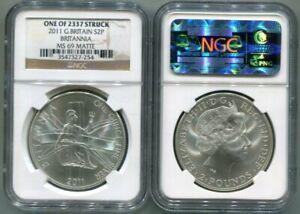 NGC-MS69 MATTE 2011 1-OZ Silver Britannia 2-Pound Coin - ONE of 2337 Struck