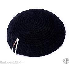 Knitted 17 cm Black Kippah Jewish Kippa Judaica Yarmulke Synagogue w Free Clip