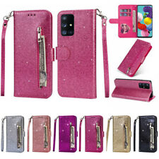 For Samsung S20 Note 20 Ultra A51 A71 Glitter Leather Zip Wallet Flip Case Cover