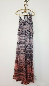 Gypsy 05 Silk Flowy Maxi Dress Ombre Fade Printed Crepe Fabric Womens Large