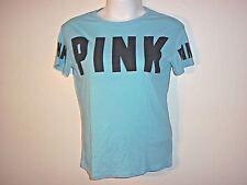 Victoria's Secret Pink Blue T shirt Black Logo Boyfriend MEDIUM Crew Shirt NWT