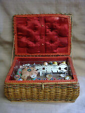 VINTAGE WOVEN SEWING BASKET Filled w/ Goodies Made in WEST GERMANY