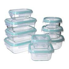 18 tlg. Glas- Frischhaltedosen Set, Klick- Deckel, Gefrier Brot Dose, Lunchbox