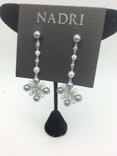 $75 Nadri silver tone multi pearl Cubic Zirconia flower drop earrings N2