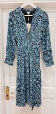 Monsoon Blue Floral Print Midi Dress UK 8 EUR 36 Nwt