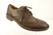 BORN Brown Leather Wingtip Brogue Block Heel Casual Dress Oxford Shoes Men's 8
