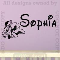 Personalized Name Walt Disney Minnie Mouse Custom Wall Decal Vinyl Sticker Decor