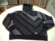 Quicksilver Quilted Lined Patterned Hoodie Size Large