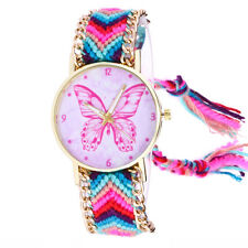 Women Butterfly Knitted Weaved Rope Band Bracelet Quartz Dial Wrist Watch Hot