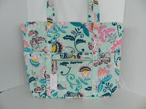 NWT Vera Bradley Iconic Get Carried Away Tote Large Travel Bag in Mint Flowers