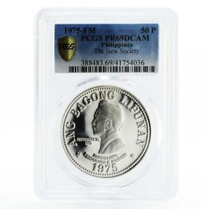 Philippines 50 pisos Ferdinand E. Marcos PR69 PCGS silver coin 1975