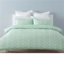 QUEEN Bed Mint Green Chevron White Robin Quilt Cover and Pillowcase set QUEEN