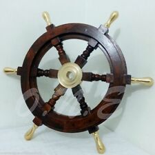 "Solid Brass Handle 18"" Wooden Helm Ship Wheel Boat Steering Vintage Antique Gift"